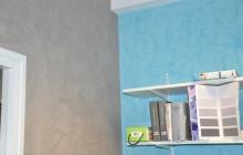 Stucco bleu et effet soie gris